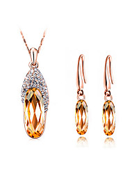 Jewelry Set Elegant Crystal Shoes Pendant Necklace Earring Girlfriend Gift