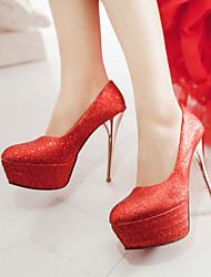 Women's Shoes Leatherette Stiletto Heel Heels / Platform Heels Wedding / Party & Evening / Dress Red / Silver