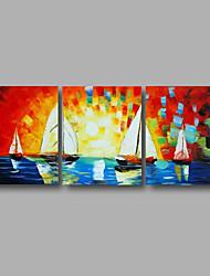 Pintados à mão Paisagem / Paisagens AbstratasModerno 3 Painéis Tela Pintura a Óleo For Decoração para casa