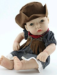 NPKDOLL Reborn Baby Doll Hard Silicone 11inch 28cm Waterproof Toy Cowgirl Girl
