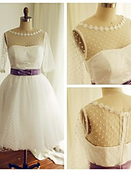 A-line Wedding Dress Tea-length Bateau Tulle with Appliques / Sash / Ribbon