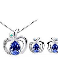 Jewelry Set Elegant Crystal Apple Pendant Necklace Earrings Girlfriend Gift