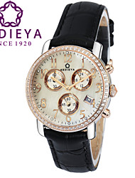 KEDIEYA Genuine Leather  Black Watch Ladies Gift 60 Zircon Diamond Mosaic Date Sapphire Chronograph Womens Watches Cool Watches Unique Watches