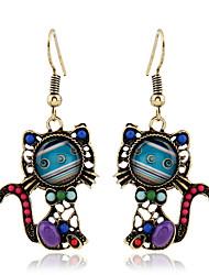Drop Earrings Crystal Pearl Imitation Pearl Rhinestone 18K gold Simulated Diamond Alloy Fashion Blue Rainbow Jewelry 2pcs