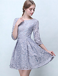Short / Mini Lace Bridesmaid Dress A-line Jewel with Lace