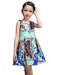 Girl's Floral Dress,Rayon Winter / Spring / Fall Blue