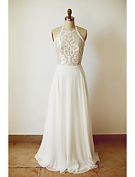 A-line Wedding Dress Floor-length Halter Chiffon with Lace