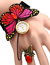 Femme Montre Tendance Bracelet de Montre Quartz Montre Décontractée Tissu Bande Papillon Elégantes Bleu Rouge Rouge Bleu