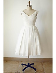 A-line Wedding Dress Tea-length V-neck Satin with Beading / Button / Ruche