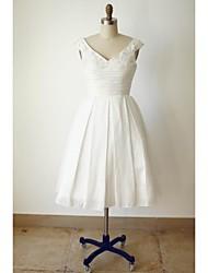 A-line Wedding Dress - Ivory Tea-length V-neck Satin