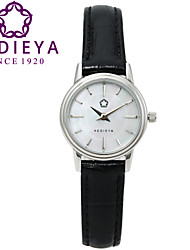 KEDIEYA Brand Genuine Leather Black Waterproof White Mother of Pearl Women Quartz Watch