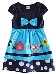 Girl's Dress Flower Embroidery Kids Floral Dress Children Dresses(Random Printed)
