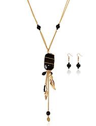 Bijoux 1 Collier / 1 Paire de Boucles d'Oreille Mariage / Soirée / Quotidien / Décontracté 1set Femme Doré / Café / Noir / RougeCadeaux