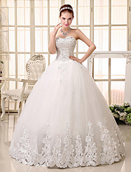 Ball Gown Wedding Dress - White Floor-length Sweetheart Tulle