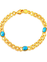 Green Turquoise Stone New Fashion Trendy Stamp 18K Gold Plated Bracelets Wholesale for Women Party Gift B40112