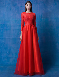 Prom / Formal Evening Dress A-line Scoop Floor-length Lace / Tulle with Beading / Lace / Pearl Detailing / Sequins