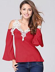 Damen Solide Einfach Lässig/Alltäglich T-shirt,V-Ausschnitt Sommer ¾-Arm Blau / Rot / Weiß / Schwarz Polyester Dünn