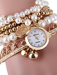 Women's Elegant Pearl Design Bracelet Quartz Wristwatch