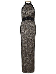 Women's Sleeveless Halter Lace Maxi Party Dress