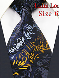 Men's Tie Floral  Navy Blue 100% Silk New Fashion Casual
