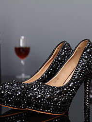 Women's Shoes Leather Spring / Summer / Fall / Winter Heels Wedding / Party & Evening Stiletto Heel Crystal Black