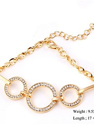 European Style Elegant Circle Zircon Chain Bracelet Gold Plated