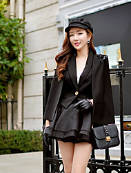 DABUWAWA Women's OL Tailored Collar Long Sleeve Solid Color Black Work Blazer Cloak Coats & Jackets