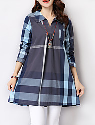 Women's Check Blue / Gray Loose Thin Blouse , V Neck Two Ways Wear Long Sleeve Cotton / Linen