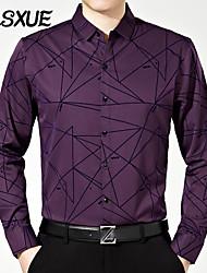 DLSXUE Men's Long Sleeve Shirt , Cotton Work / Formal Striped