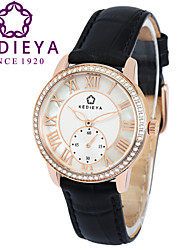 KEDIEYA Black Genuine Leather Zircon Diamond Mosaic Small Second Dial Rose Gold Case Watch Ladies Women Watches