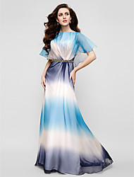 TS Couture® Formal Evening Dress - Color Gradient Plus Size / Petite Sheath / Column Scoop Floor-length Velvet Chiffon with Crystal Brooch