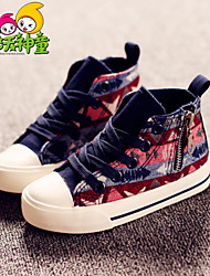 Girl's Spring / Summer / Fall Round Toe / Comfort Fabric Outdoor / Casual / Athletic Flat Heel Lace-up / Zipper / Chain Blue / Red