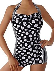 Damen Bikinis  -  Einheitliche Farbe / Punkt Push-Up Polyester Halfter
