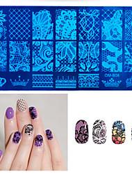 1шт новый черный цветок кружева ногтей штамповки пластин из нержавеющей стали ногтей штамп шаблон маникюр ногтей инструменты