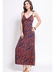 Women's Sexy / Holiday Print Sheath Dress , Strap Maxi Spandex