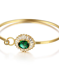 Fshion Party Flower 18K Gold Plated Cuff Bangle Green Cubic Zirconia Bracelets & Bangles For Women