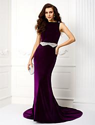 Vestido - Púrpura Corte A Cola Corte - Escote Barco Terciopelo