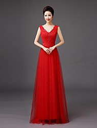Bridesmaid Dress Floor-length Lace - Sheath / Column V-neck with Embroidery / Lace