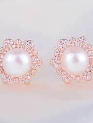 Stud Earrings Pearl Sterling Silver Imitation Pearl Simulated Diamond Fashion Jewelry 1pc