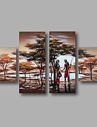 Pintados à mão Abstrato / Paisagem / Paisagens AbstratasModerno 4 Painéis Tela Pintura a Óleo For Decoração para casa