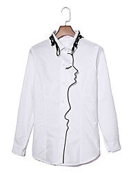 Women's Casual/Daily Street chic Summer Shirt,Embroidered Shirt Collar Long Sleeve White Cotton / Polyester Medium