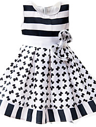 Girl's White Dress,Striped Cotton / Polyester Summer / Spring / Fall
