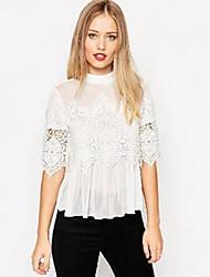 Opstaand - Polyester - Bloem - Vrouwen - T-shirt - Driekwart mouw