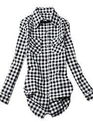 Women's Plaid Multi-color Shirt , Shirt Collar Long Sleeve