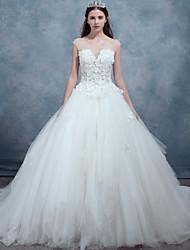 A-line Wedding Dress-Ivory Sweep/Brush Train Bateau Lace