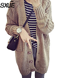 DLSXUE Women's Solid Blue / Pink / Beige / Gray Cardigan , Casual / Day / Simple Long Sleeve