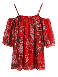 Women's Holiday / Beach Floral Loose Dress , Off Shoulder Above Knee Polyester
