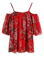 Mulheres Vestido Solto Férias / Praia Floral Acima do Joelho Ombro a Ombro Poliéster
