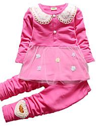 Girl's Green / Pink / Red Clothing Set,Jacquard Cotton Spring / Fall
