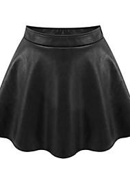 Damen Röcke  -  Übergröße / Leger Übers Knie PU Mikro-elastisch
